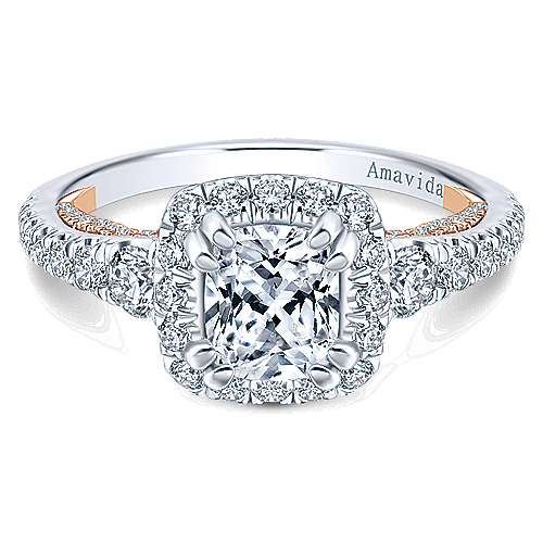 18k White/Rose Gold Cushion Cut Halo