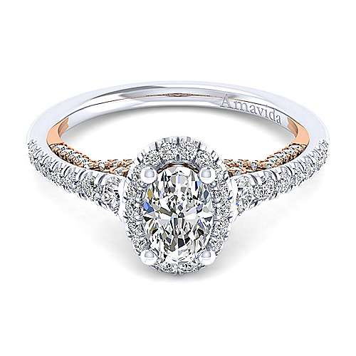 Gabriel - Emmaline 18k White And Rose Gold Oval Halo Engagement Ring