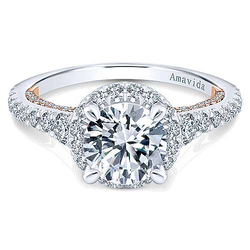 Gabriel - Emmaline 18k White And Rose Gold Round Halo Engagement Ring