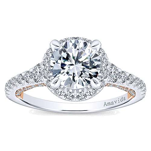 Emmaline 18k White And Rose Gold Round Halo Engagement Ring