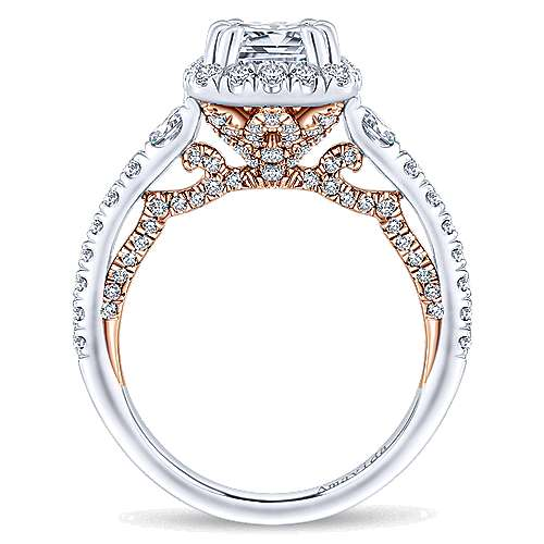Emmaline 18k White/rose Gold Cushion Cut Halo Engagement Ring angle 2