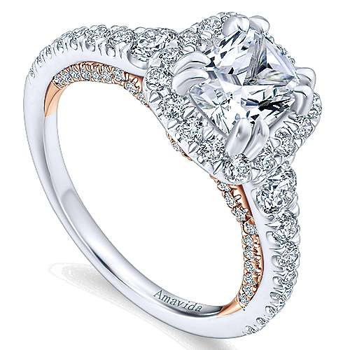 Emmaline 18k White/rose Gold Cushion Cut Halo Engagement Ring angle 3