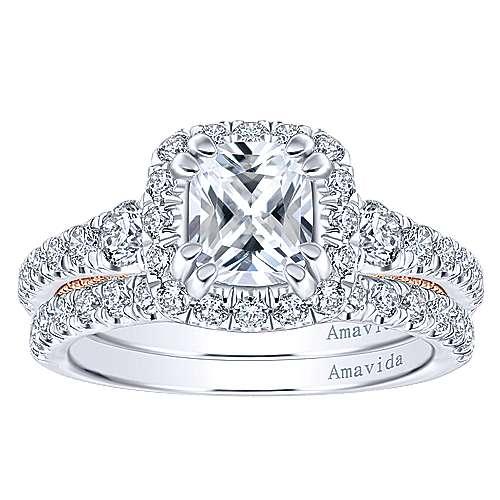 Emmaline 18k White/rose Gold Cushion Cut Halo Engagement Ring angle 4