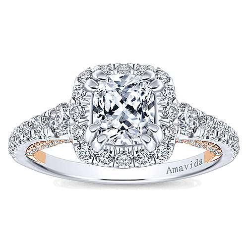 Emmaline 18k White/rose Gold Cushion Cut Halo Engagement Ring angle 5