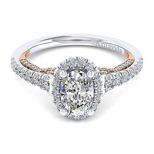Gabriel - Emmaline 18k White/rose Gold Oval Halo Engagement Ring