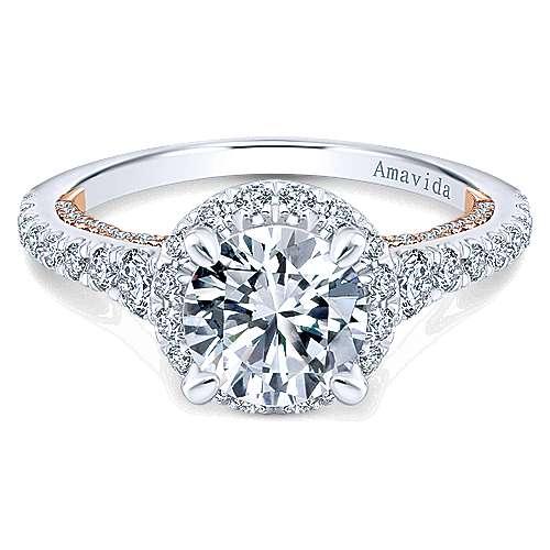 Gabriel - Emmaline 18k White/rose Gold Round Halo Engagement Ring