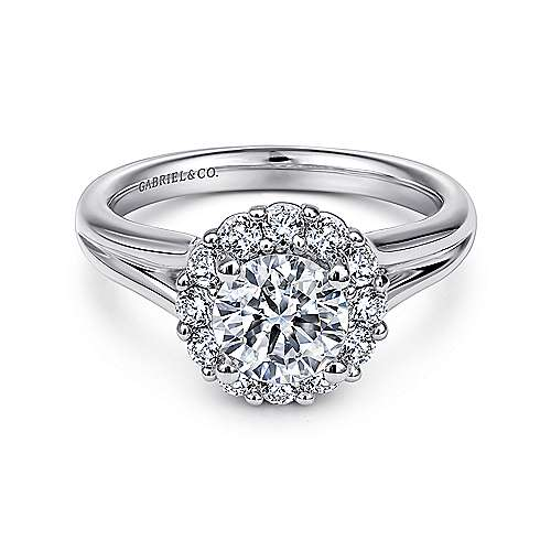 Gabriel - Emmylou 14k White Gold Round Halo Engagement Ring