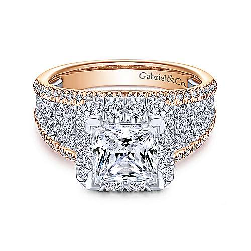 Emory 18k White And Rose Gold Princess Cut Halo Engagement Ring angle 1