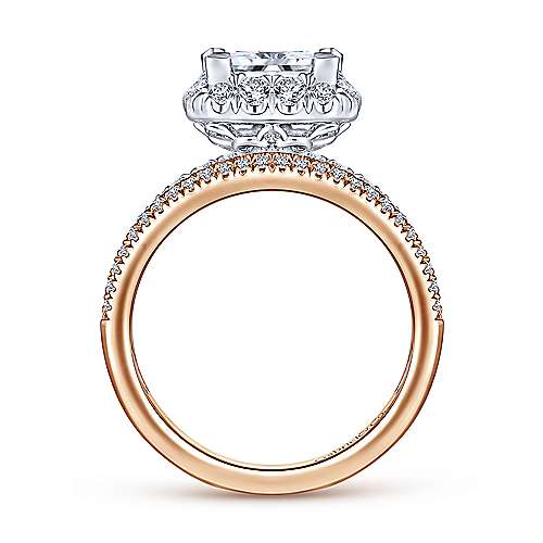 Emory 18k White And Rose Gold Princess Cut Halo Engagement Ring angle 2