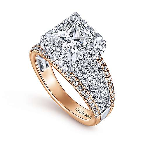 Emory 18k White And Rose Gold Princess Cut Halo Engagement Ring angle 3