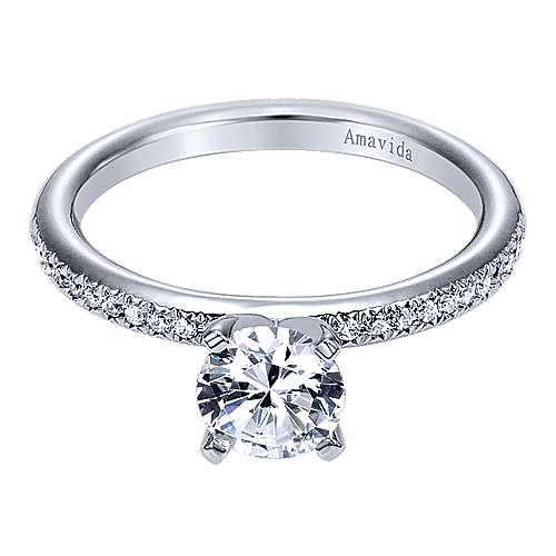 Empower 18k White Gold Round Straight Engagement Ring angle 1