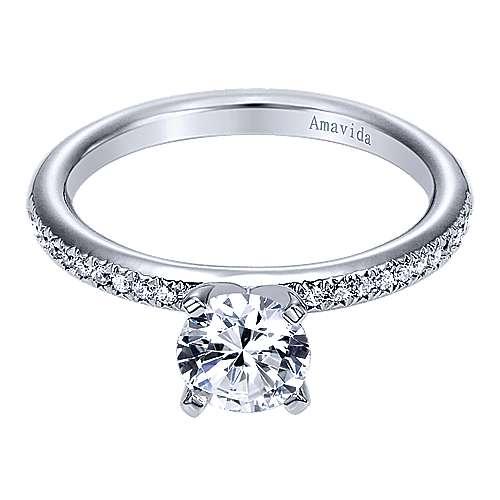 Gabriel - Empower 18k White Gold Round Straight Engagement Ring