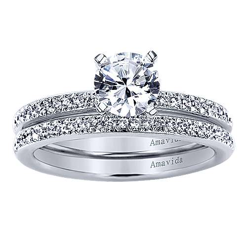 Empower 18k White Gold Round Straight Engagement Ring angle 4