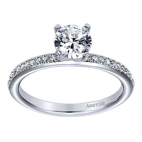 Empower 18k White Gold Round Straight Engagement Ring angle 5