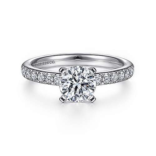 Gabriel - Empower 18k White Gold Round Straight Engagement Ring