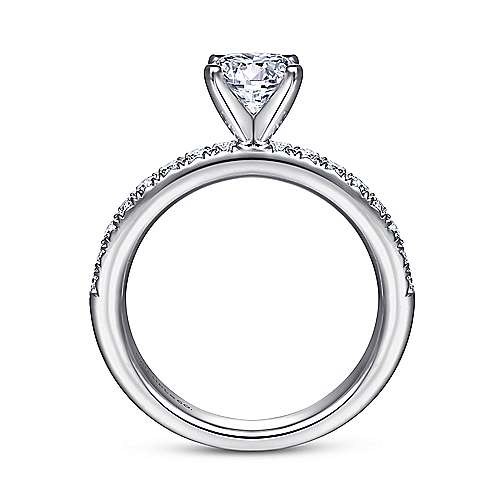 Empower 18k White Gold Round Straight Engagement Ring angle 2