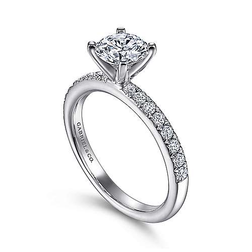 Empower 18k White Gold Round Straight Engagement Ring angle 3