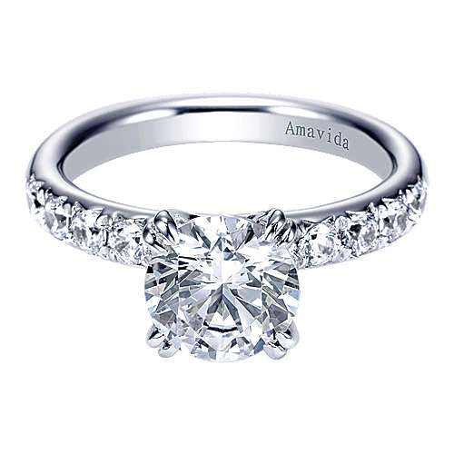 Empower 18k White Gold Round Straight Engagement Ring