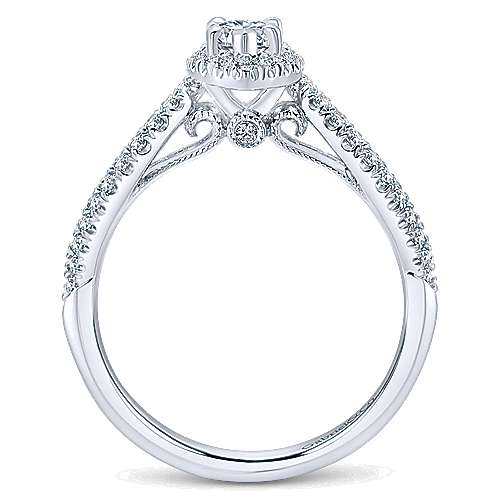 Empress 14k White Gold Marquise  Halo Engagement Ring
