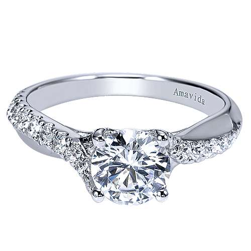 Gabriel - Endless 18k White Gold Round Twisted Engagement Ring