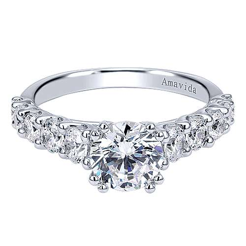 Gabriel - Eniko 18k White Gold Round Straight Engagement Ring