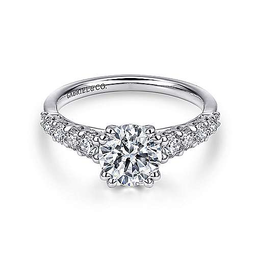 Eniko 18k White Gold Round Straight Engagement Ring