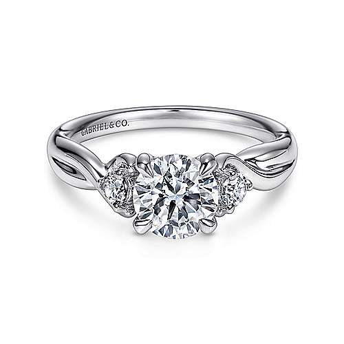 Enlightened 18k White Gold Round Twisted Engagement Ring angle 1