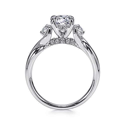 Enlightened 18k White Gold Round Twisted Engagement Ring angle 2