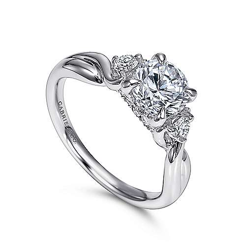 Enlightened 18k White Gold Round Twisted Engagement Ring angle 3