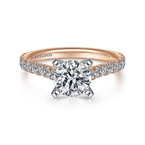 Erica 14k White And Rose Gold Round Straight Engagement Ring angle 1
