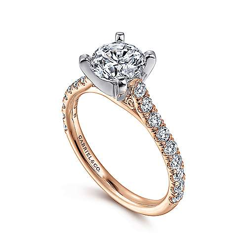 Erica 14k White And Rose Gold Round Straight Engagement Ring angle 3