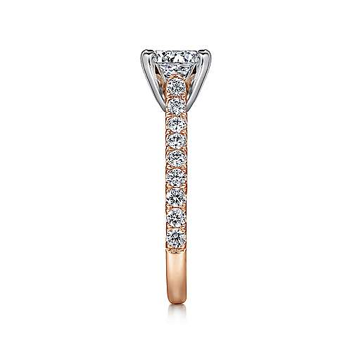 Erica 14k White And Rose Gold Round Straight Engagement Ring angle 5