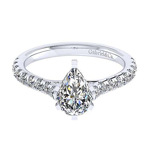 Gabriel - Erica 14k White Gold Pear Shape Straight Engagement Ring