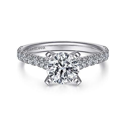Gabriel - Erica Platinum Round Straight Engagement Ring