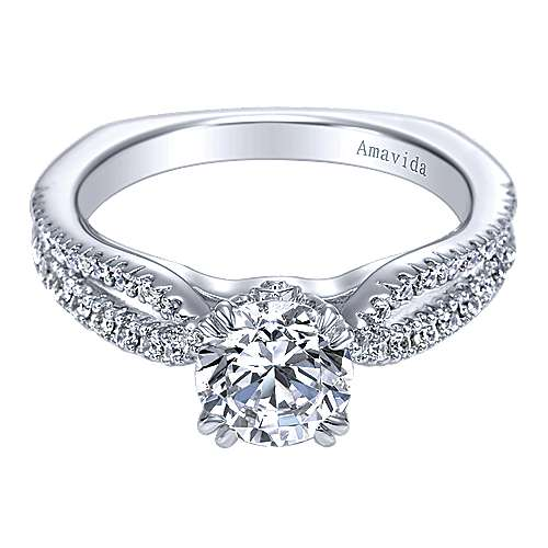 Gabriel - Erin 18k White Gold Round Split Shank Engagement Ring