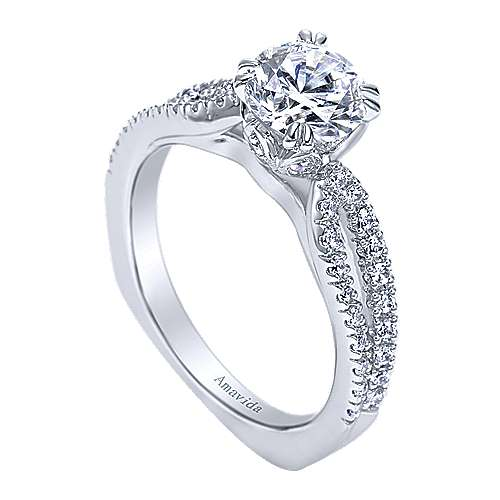Erin 18k White Gold Round Split Shank Engagement Ring angle 3