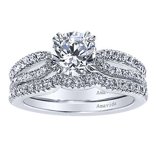 Erin 18k White Gold Round Split Shank Engagement Ring angle 4