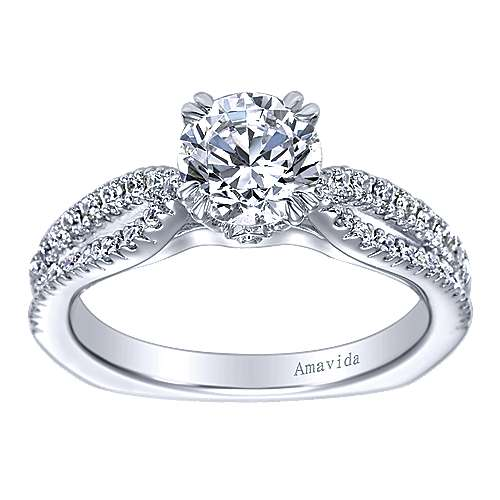 Erin 18k White Gold Round Split Shank Engagement Ring angle 5