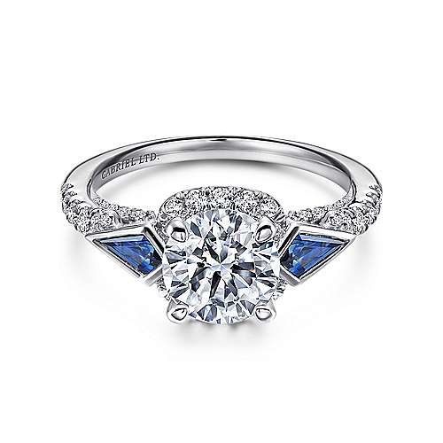 Gabriel - Eros 18k White Gold Round 3 Stones Halo Engagement Ring