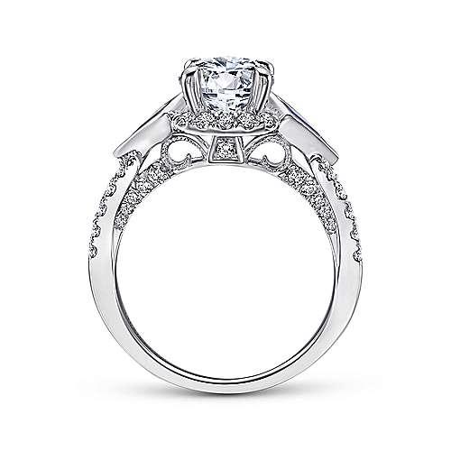 Eros 18k White Gold Round 3 Stones Halo Engagement Ring
