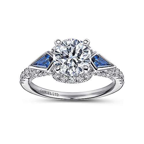 Eros 18k White Gold Round 3 Stones Halo Engagement Ring angle 5