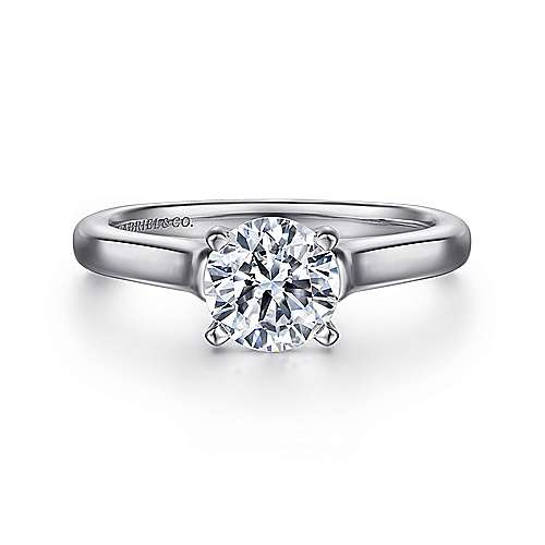 Gabriel - Esme 14k White Gold Round Solitaire Engagement Ring