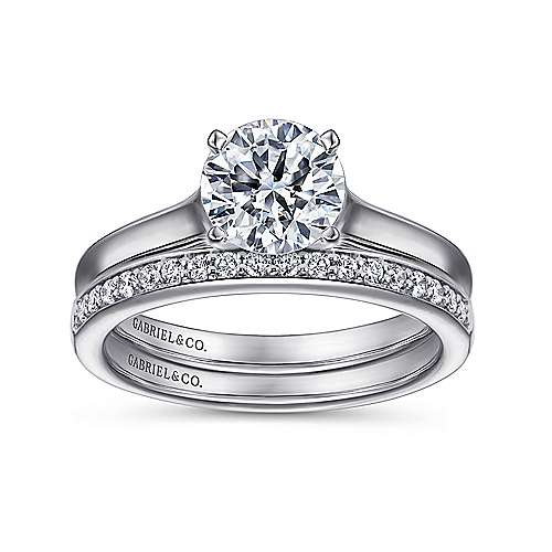 Esme 14k White Gold Round Solitaire Engagement Ring angle 4