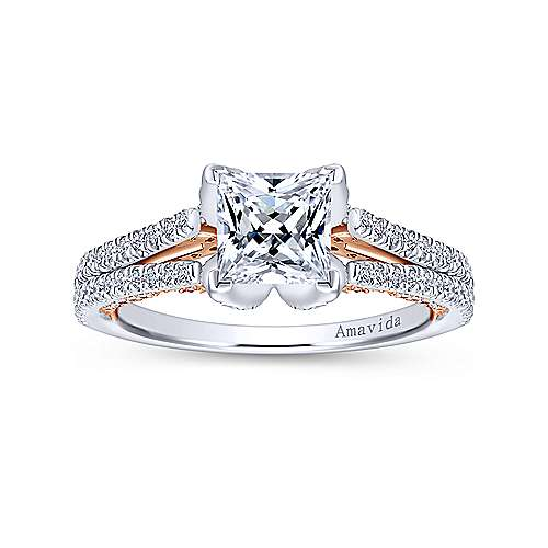 Esperanza 18k White And Rose Gold Princess Cut Split Shank Engagement Ring angle 5