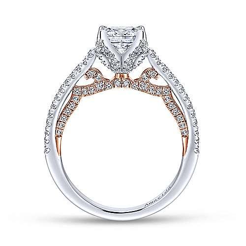Esperanza 18k White/pink Gold Princess Cut Split Shank Engagement Ring angle 2