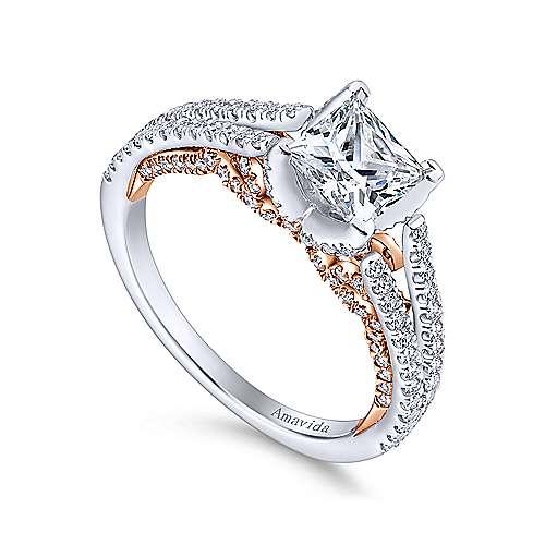 Esperanza 18k White/pink Gold Princess Cut Split Shank Engagement Ring angle 3