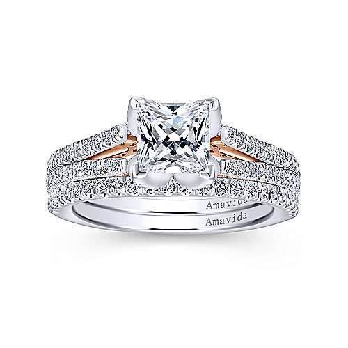 Esperanza 18k White/pink Gold Princess Cut Split Shank Engagement Ring angle 4
