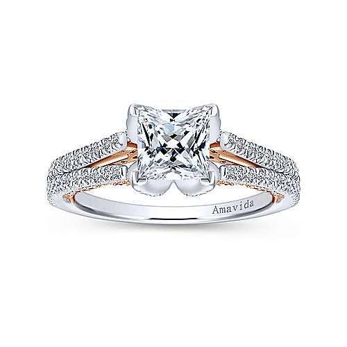 Esperanza 18k White/pink Gold Princess Cut Split Shank Engagement Ring angle 5