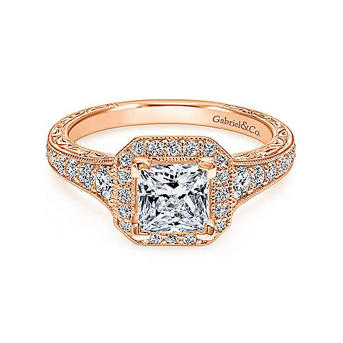 Gabriel - Estelle 14k Rose Gold Princess Cut Halo Engagement Ring