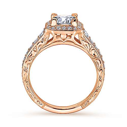 Estelle 14k Rose Gold Princess Cut Halo Engagement Ring angle 2